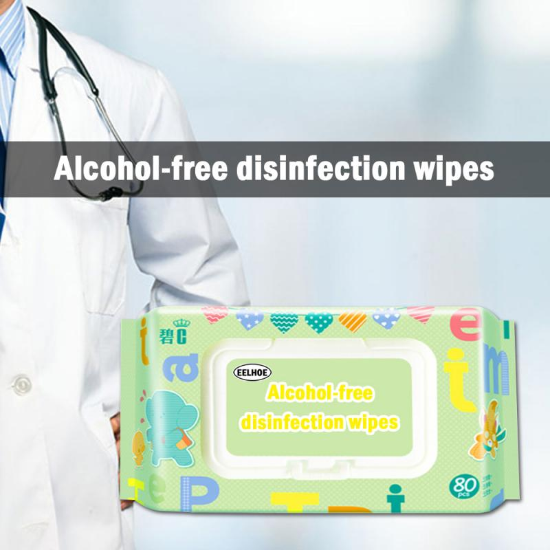 80pc Disinfection Wipes Portable Disposable Alcohol-free Anti-bacterial Wet Wipe Skin Cleaning Wipes Pads Home Clean Paper Towel