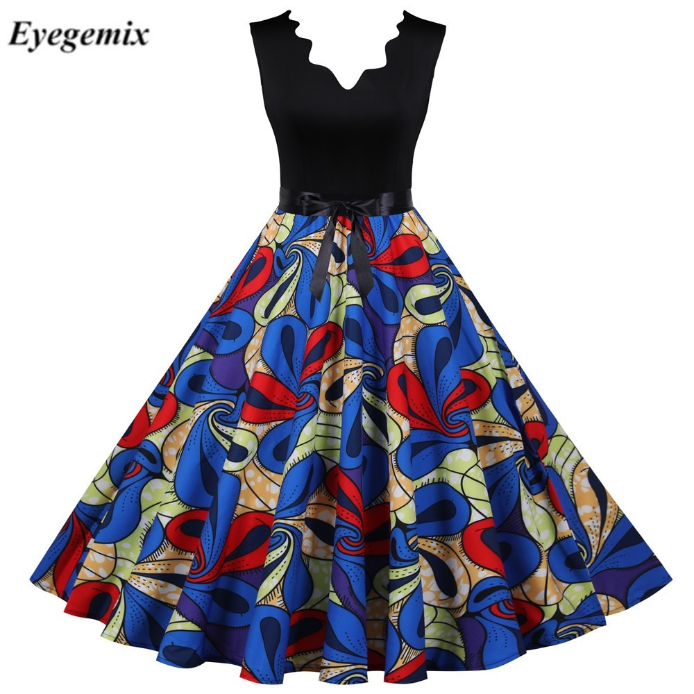 Kobiety sukienka Retro Audrey Hepburn 50s 60S nadruk w stylu Vintage sukienka suknia Retro typu Swing sukienka Rockabilly Vestidos Plus rozmiar Sexy sukienka