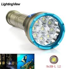 Ultra parlak 9xXM-L2 sualtı ışığı fener yüksek güç dalış el feneri IP8 taktik dalış meşale 26650 açık kamp ışık
