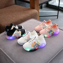 Children Shoes Kids Sneakers Baby Girls Boys Bling Led Light Luminous Sport Sneakers Shoes Round Toe Lace-up Rubber Casual Shoes(China)
