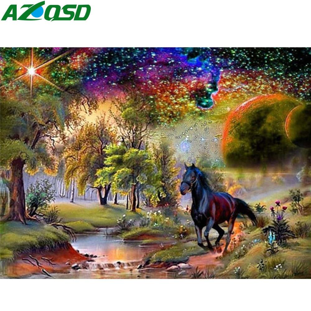 AZQSD Diamond Embroidery Horse Scenic Mosaic Full Kits Handicraft Diamond Painting Animals Cross Stitch Home Decor Needlework