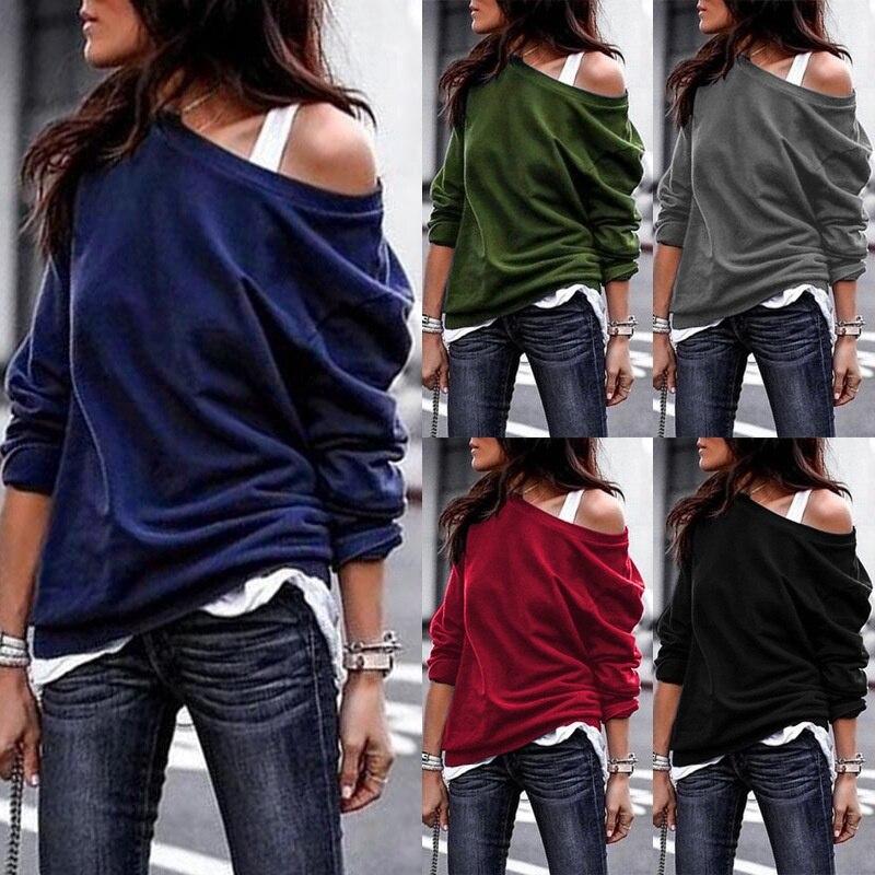Off Shoulder Long Sleeve T-shirt Women Pluse Size One-shoulder Sweatshirt Tops Fashion Solid Color Cotton Pullover