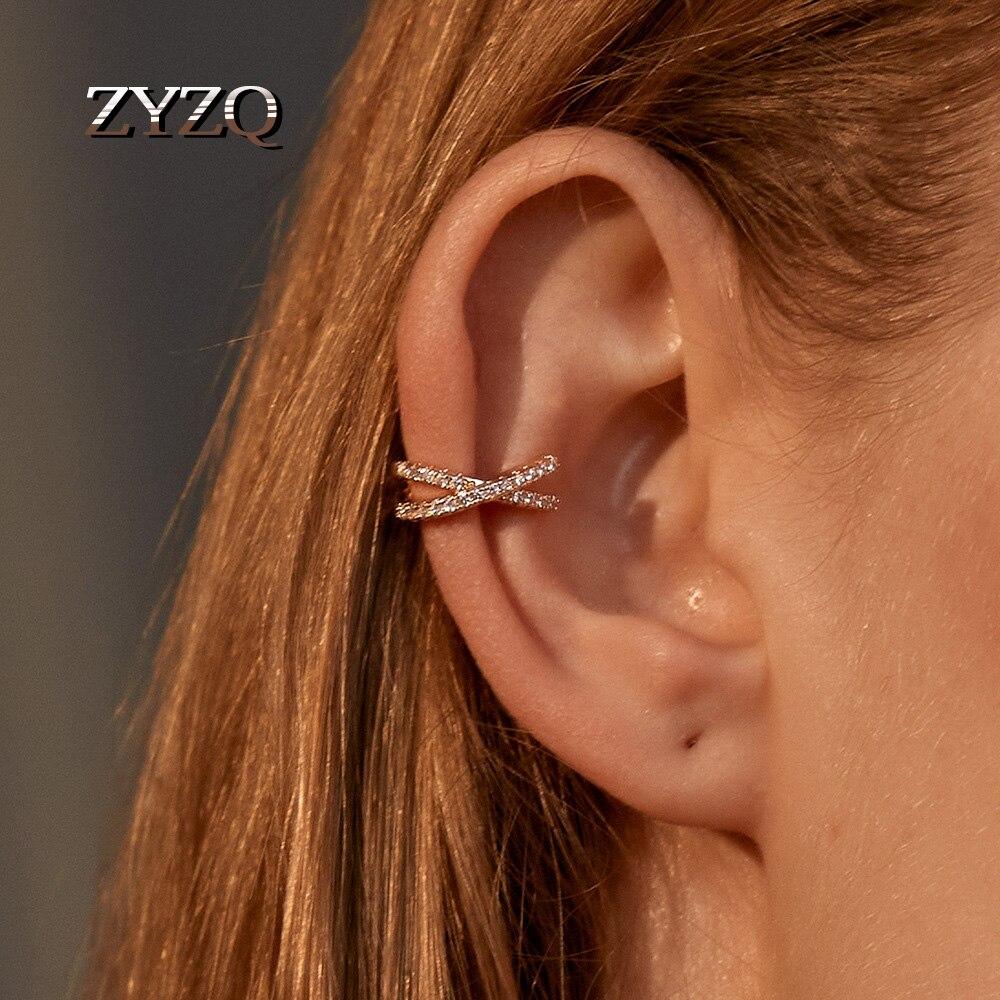 Zyzq 1pc punk ouro metal orelha manguito clipe de orelha para as mulheres sem perfurado c forma geométrica pequeno earcuff orelha envoltório grampos de ouvido jóias