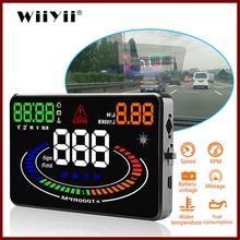 "GEYIREN Universal Car HUD Head Up Display OBDII OBD2 อินเทอร์เฟซE300 ความเร็วOverspeed Speedometerความเมื่อยล้าปลุก 5.5 ""รถดิจิตอล"