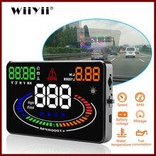 "GEYIREN Universal Car HUD Head Up Display OBDII OBD2 Interface E300 Speedometer Overspeed Fatigue Driving Alarm 5.5"" Digital Car"