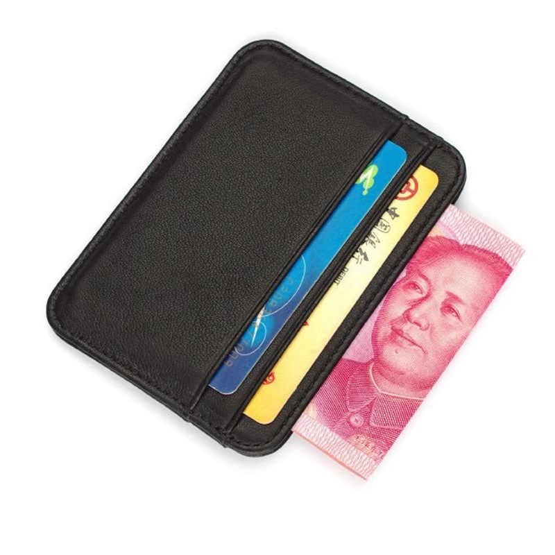 Gülen SUNSHINE koyun derisi hakiki deri erkek ince cüzdan kart tutucu erkek küçük cüzdan siyah çantalar İnce cüzdan kart 2020