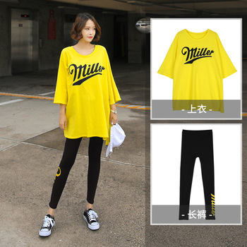 Plus Size Women Sport Set Fat Girl Running Clothes Summer Loose Letter Yoga Suit