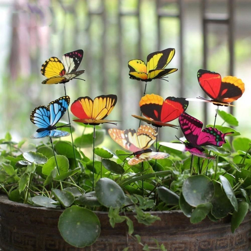 10PCS Artificial Butterfly Garden Decorations Simulation Butterfly Stakes Fake Butterefly Garden Supplies Yard Plant Lawn Decor|Decorative Stakes & Wind Spinners| |  -