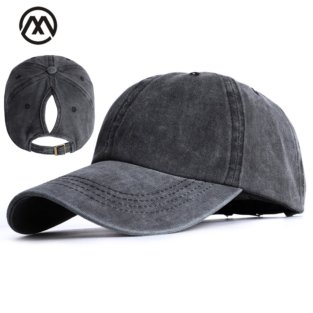 Female Ponytail Baseball Cap Spring Ladies Hat Bean Bone Woman Ponytail Hat Solid Color Classic Retro Fashion Hat Cotton New