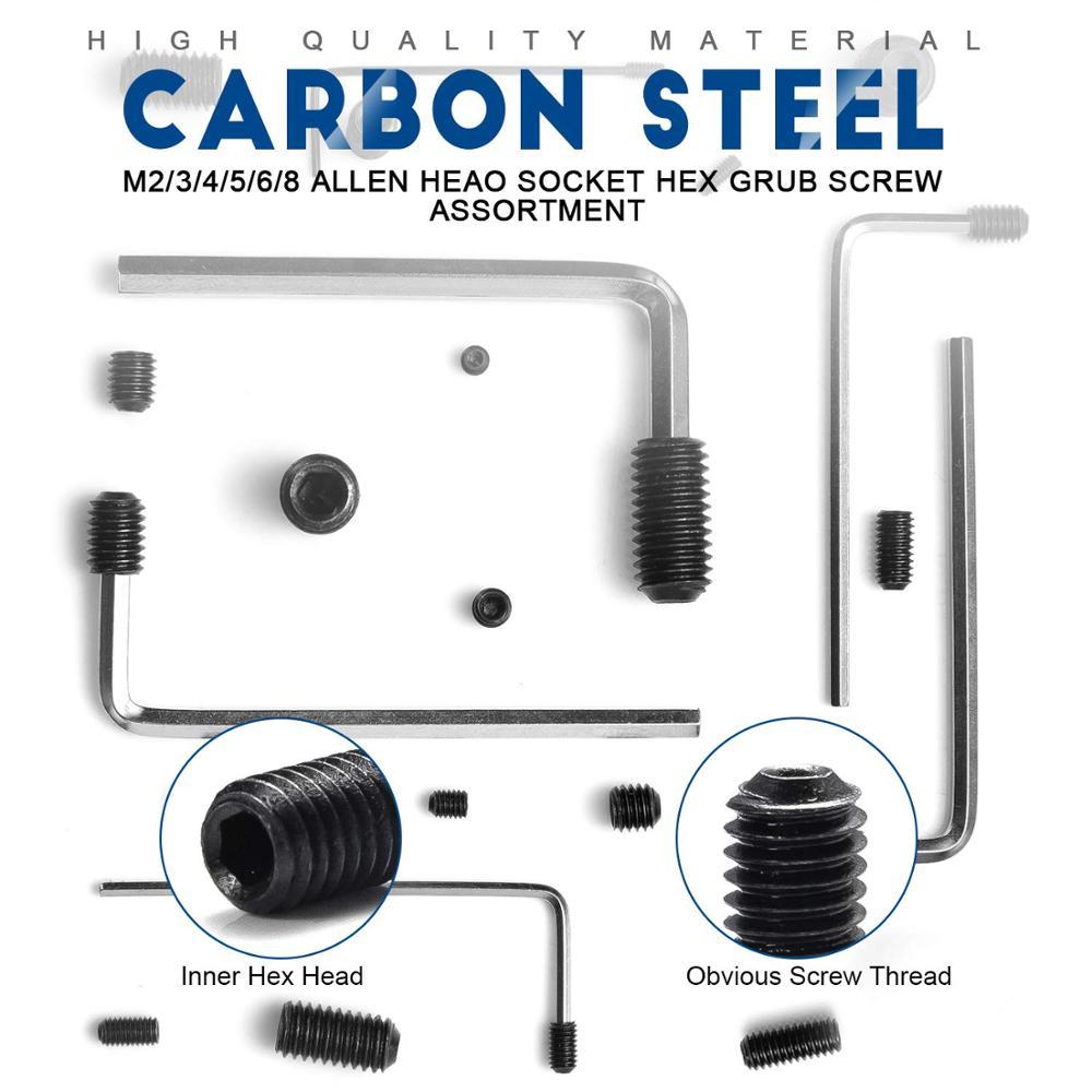 Image 4 - 666pcs Set Screw Cup Point Grub Screw M2 M3 M4 M5 M6 M8 Hex Socket Set Screws Hexagon Headless Set Screw Grade 12.9 Carbon Steel-in Screws from Home Improvement