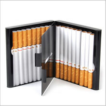 20 Sticks Fashion Double Layer Tobacco Smoking Pipe Creative Personality Cigaret Case Metal Cigarette Box Gifts Cigarette Holder(China)