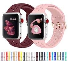 Adequado para apple watch 6 se 5 4 3 40mm 44mm silicone macio esporte cinta para iwatch série 38mm 42mm respirável substituição cinta