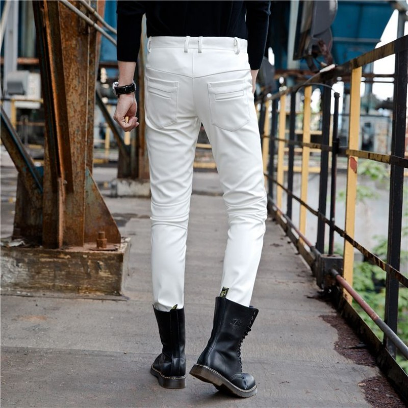 Mens Slim Fit Pu Leather Pants Autumn Winter Thick Fleece Lining Long Trousers Korean Stretchy Motorcycle Biker Leather Pants