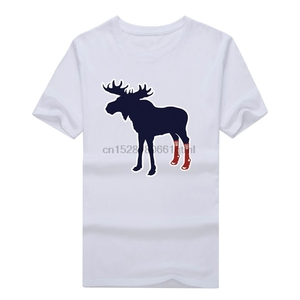 2019 MenS Tops Tees Popular Sox On Moose With Socks Boston Fan T-Shirt T Shirt Men Design Mens Red Shirt(China)