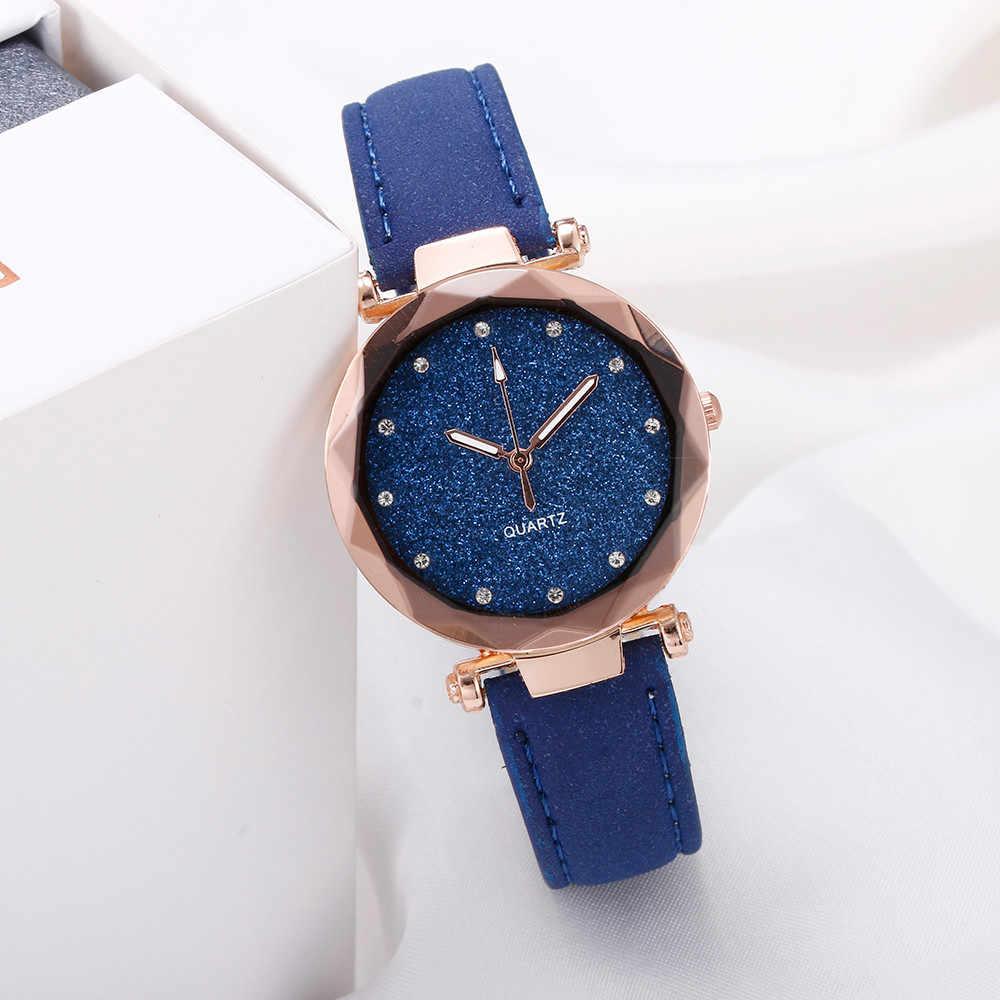 Часы женские señoras reloj de moda Coreana de diamantes de imitación de oro rosa reloj de cuarzo mujer estrella cielo ver zegarek damski reloj sea3