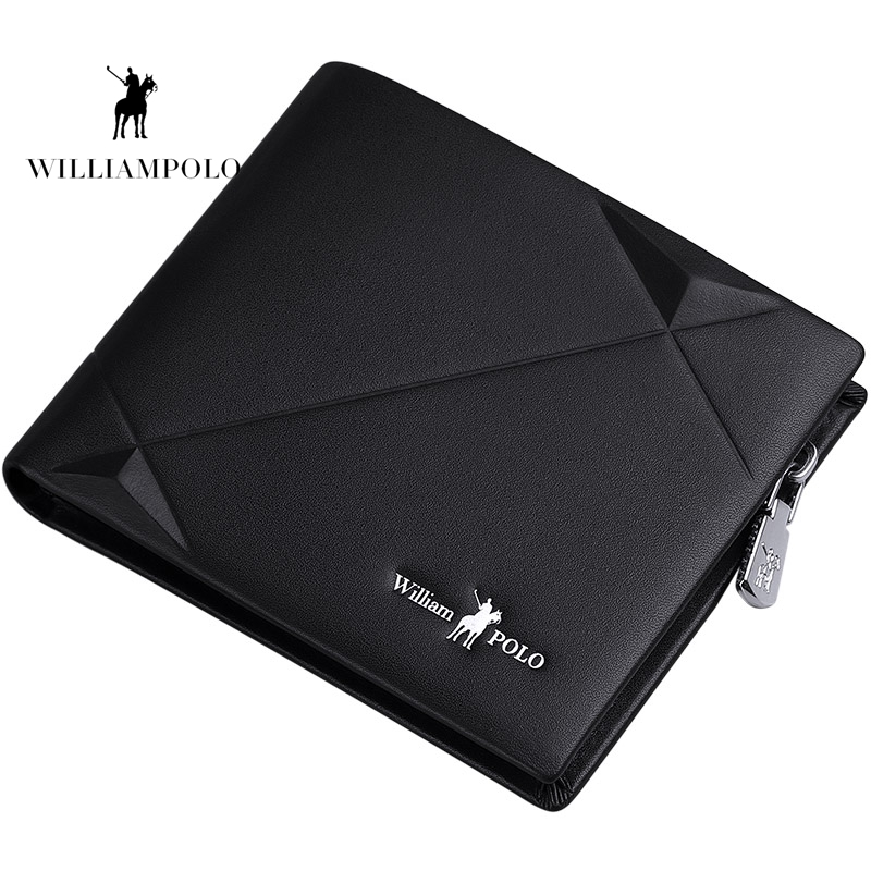 Williampolo 2019 Men's Slim Wallet Genuine Leather Mini Purse Casual Design Bifold Wallet Brand Short Slim Wallet