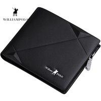 Williampolo 2019 Men's Slim Wallet Genuine Leather Mini Purse Casual Design Bifold Wallet Brand Short Slim Wallet