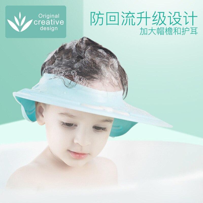 Baby Shampoo Useful Product Silica Gel Shower Cap Infant Child Waterproof Earmuff Kids Bath Wash Shower Cap Adjustable