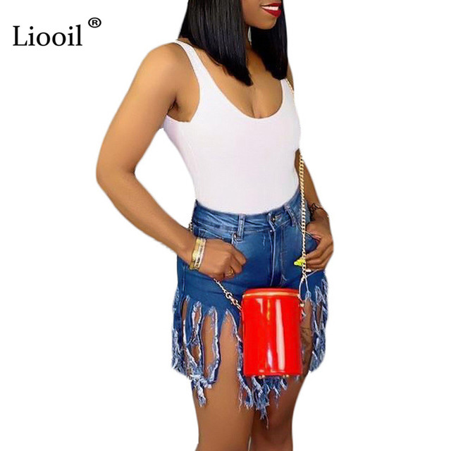 Liooil Neon Tassel Jeans Shorts Women 2021 Summer Elastic High Waist Cotton Jean Short Plus Size Sexy Denim Shorts Sexy Club 3