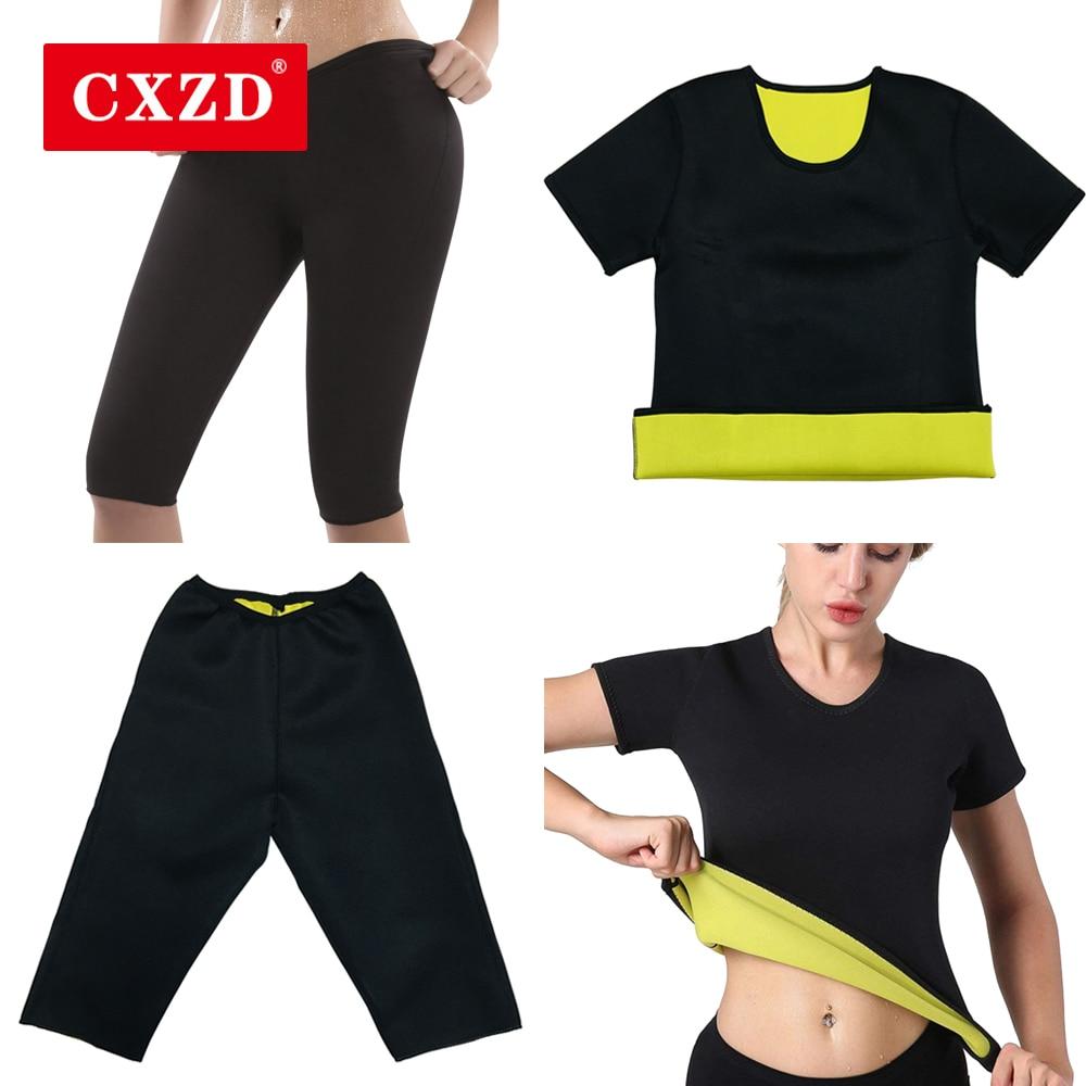 CXZD Womens Sweat Shaper T Shirt + Pant - Hot Thermo Slimming Shapewear Sauna Suit Waist Trainer Neoprene Tummy Shaper Corset