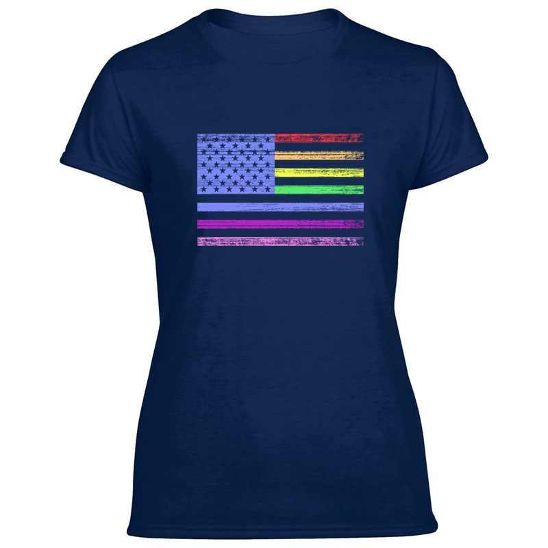 Yenilikçi çılgın Usa gurur bayrağı T-Shirt adam baskı siyah Harajuku giysi erkekler ve kadınlar tişörtleri Tee gömlek Tee Tops