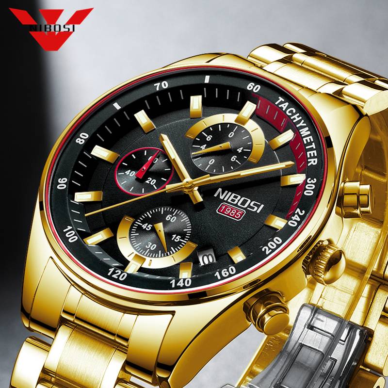 NIBOSI Gold Men's Watches Military Luxury Brand Watch Mens Quartz Stainless Clock Fashion Chronograph Watch Relogio Masculino