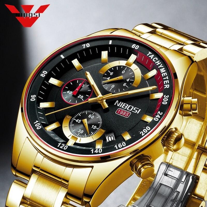 NIBOSI Gold Men's Watches Military Luxury Brand Watch Mens Quartz Stainless Clock Fashion Chronograph Watch Relogio Masculino