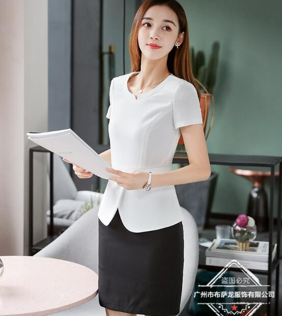 2019 New Summer Short Sleeve White Women Skirt Suit Two Piece Set For Business Office Ladies Work Wear Ruffles Elegant Style
