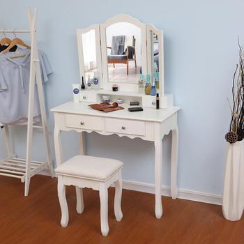 Nowoczesny drewniany toaletka toaletka zestaw stołowy zwięzły 4 szuflada z lustrem makijaż komoda krzesło Organizer biżuterii toaletka HWC tanie i dobre opinie CN (pochodzenie) Meble do sypialni Malowanie natryskowe Europa i Ameryka Montaż Drewniane meble do domu 90 X 40 X 145cm