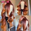 Эффектом деграде (переход от темного к оранжевый имбирь Цветной бразильские объемная волна 13x4 кружева передние человеческие волосы парики ...
