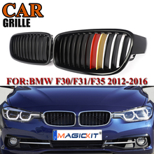 MagicKit 1 Pair F30 Car Styling Grill M3 Style F31 Kidney Black Replacement Grille For BMW F30 F31 2014+ 320i 325i 328i 335i 1 pair f30 car styling front grill style f31 kidney black replacement grille hood for bmw 3 series f30 f31 2012 2016 gloss black