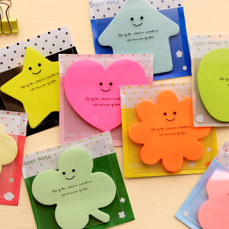Candy Color Memo Sticker Paper Kawaii Star Apple Bookmark Memo Pad Sticky Note For School Office Supplies Stationery