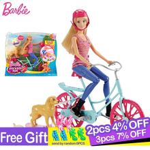 Bicycle-Kit Doll Barbie Dog-Riding-Toys Birthday-Girl Fashion-Style Children Originals