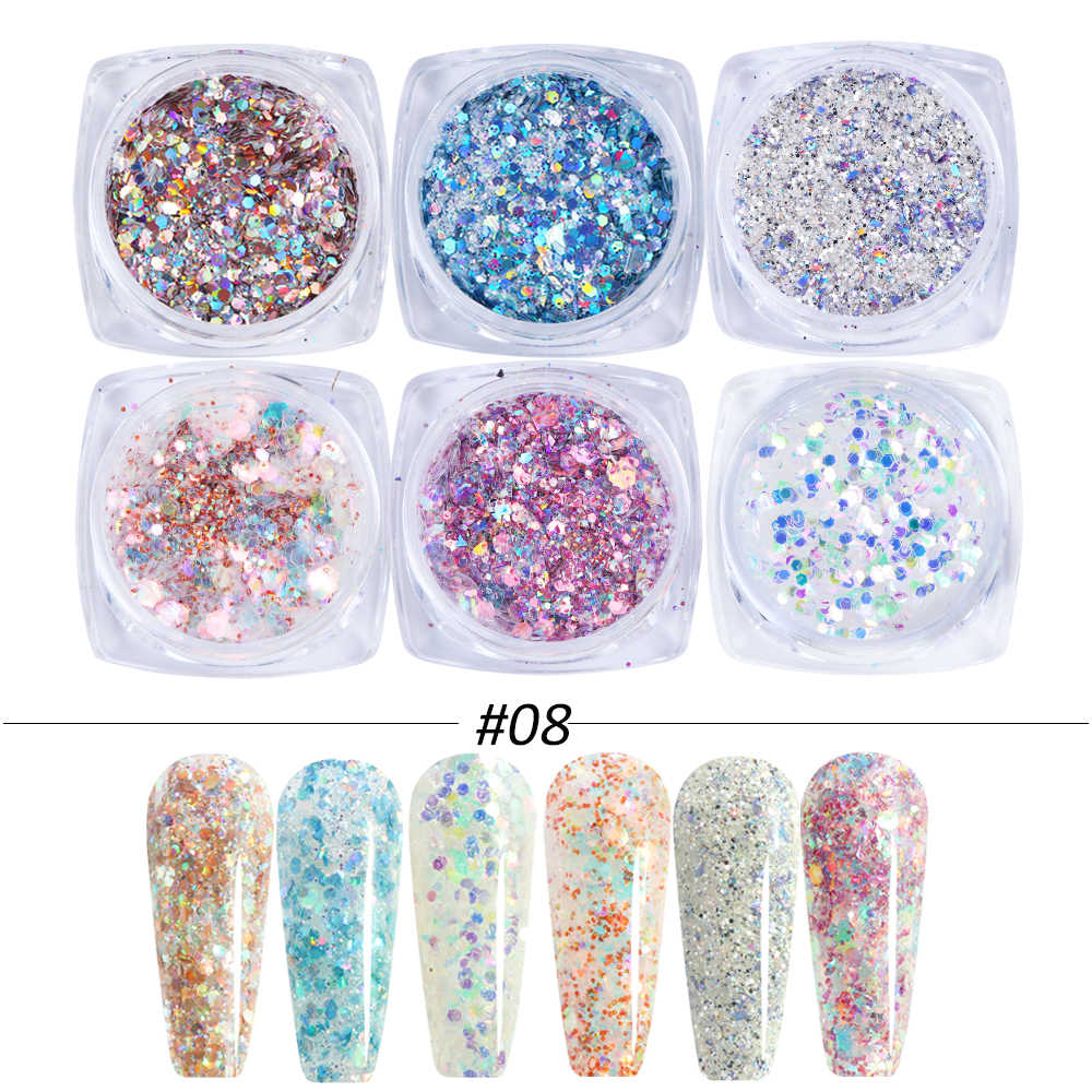 6Pcs Rose Gold Nail Glitter Holografische Poeder Set Shiny Sequin Voor Nails Beauty Make Manicure Nail Art Accessoires CH1539-NEW