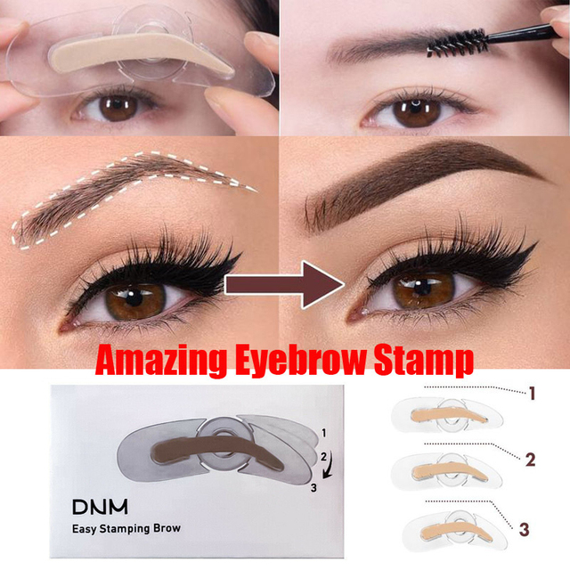 NEW 3 Shapes Adjustable Eyebrow Stamp Soft Sponge Eyebrow Template Stamp Stencils Natural Lazy Quick Eye Brow Makeup Seal