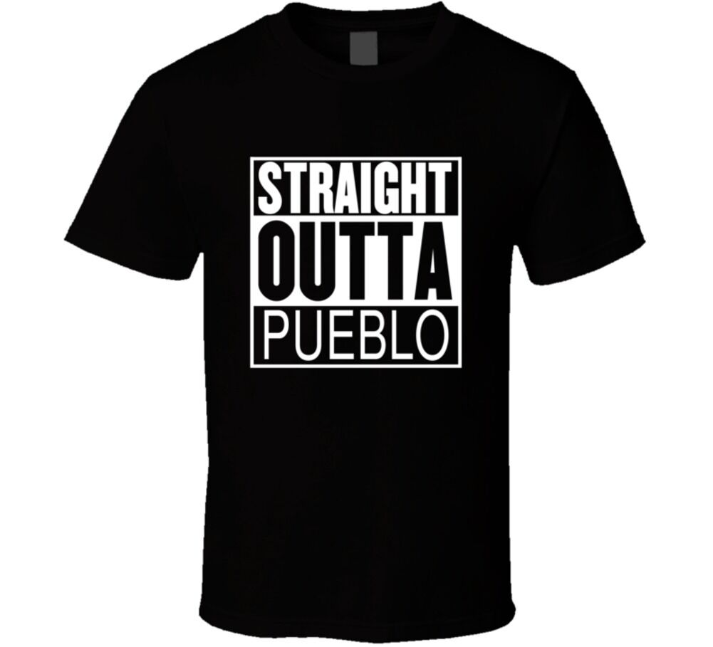 Straight Outta Pueblo Colorado Parody Movie T Shirt Short Sleeve Tee Shirt Free Shipping cheap wholesale image