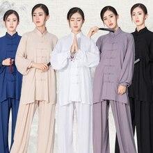 USHINE Unisex Traditional Chinese Clothing 6 Colors Long Sleeve Wushu TaiChi KungFu Uniform Tai Chi Uniforms Exercise Clothing