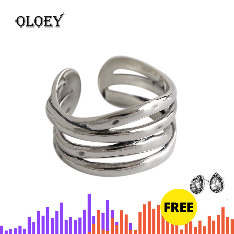 OLOEY Vintage INS Multi-layered Winding Lines Wide Rings For Women Korean Real 925 Sterling Silver Open Ring Fine Jewelry YMR792