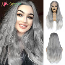 X-TRESS Grey Ombre Wigs High Density Synthetic Lace Front Wig For Black Women Long Straight Middle Part Lace Wig with Baby Hair