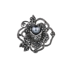 Gariton New Vintage Simulated pearl Rose shape Brooch Black Crystal Rhinestones Brooches for Women