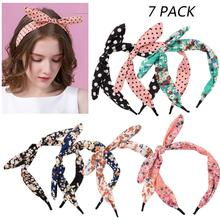 цены Hair Accessories 7 Pack Bow Headbands for Women Hair Hoop Cute Hard Headband Hair Band Knotted Bow Turban Headband,7 Colors