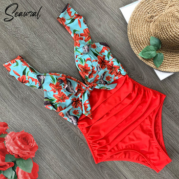 2020 Sexy New Ruffle One Piece Swimsuit Off The Shoulder Swimwear Women Swimsuit Deep-V Bathing Suits Beach Wear Swim Suit 1