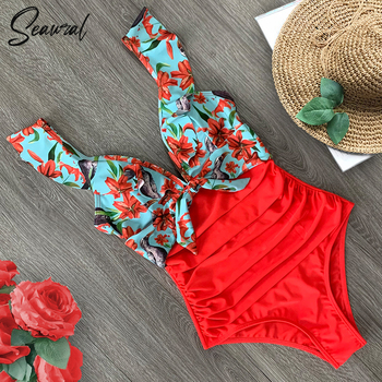 2020 Sexy New Ruffle One Piece Swimsuit Off The Shoulder Swimwear Women Swimsuit Deep-V Bathing Suits Beach Wear Swim Suit