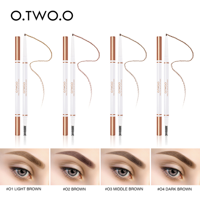 O.TWO.O Eyebrow Pencil Waterproof 4 Colors Double Ended Eyebrow Pencil Eye Brow 1.5mm Pen Brown Cosmetic Beauty Makeup 1