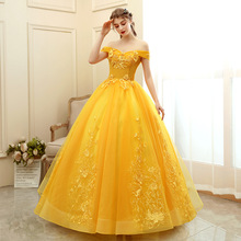 Ball-Gown Quinceanera-Dresses Gold Formal Sweet New Floral-Print Off-The-Shoulder