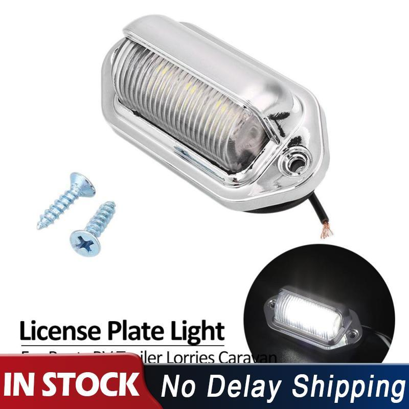 6LEDs Silver DC 12V Truck Number License Plate Light Tail Lamp Step Lamp Tag Light For Boat RV Truck Trailer Lorries Caravan(China)