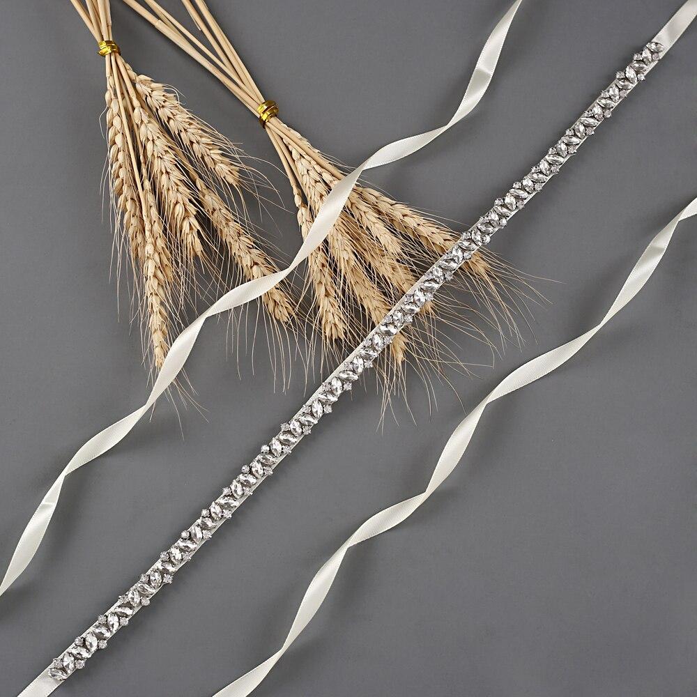 TRiXY S404 Rhinestones Belt Ribbons Wedding Belt Silver Diamond Belt Bridal Sash Beaded Bridesmaid Belt For Wedding Accessories
