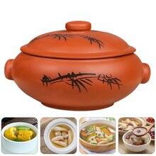 1pc Ceramic  Stew Pot Casserole Steam Pot Kitchen Cookware (Assorted Color)
