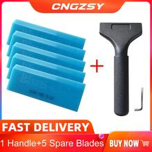 Blue MAX Squeegee Alloy Handle & 5PCS Extra BlueMax Rubber Spare Blades Window Tint Squeeze Car Vinyl Glassing Clear B24+5B0