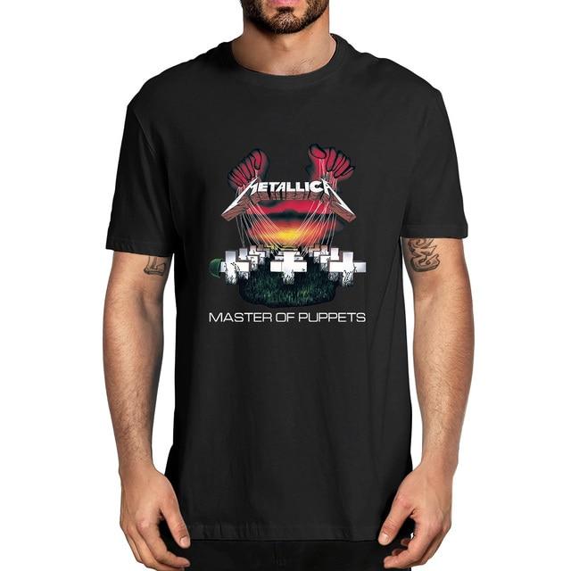 100% Cotton  Fashion Casual Master of Puppets Rock Band Punk Style Unisex Oversized Men Novelty T-Shirt Women Soft Casual Tee 1